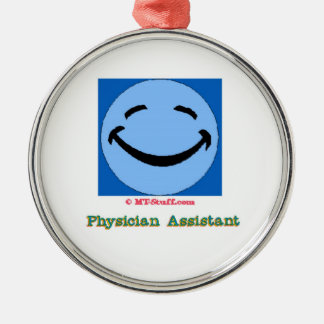 Physician Assistant Happy Face Silver-Colored Round Decoration
