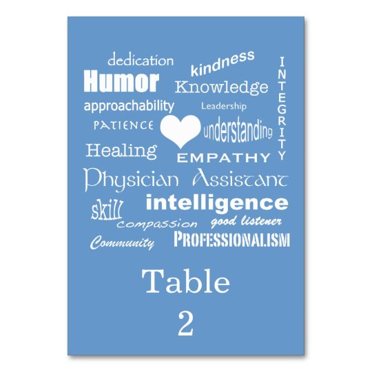 Physician Assistant Occasion/Word Cloud on Blue Table Cards