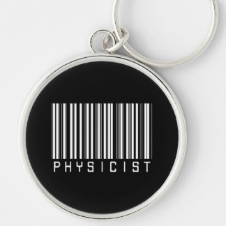 Physicist Bar Code Silver-Colored Round Key Ring