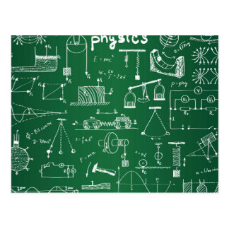 Physics Chalkboard Pattern Postcard