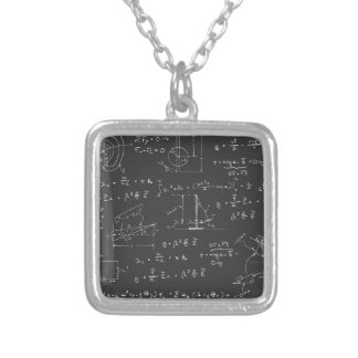 Physics diagrams and formulas square pendant necklace