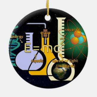 Physics E=mc2 colorful design Round Ceramic Decoration