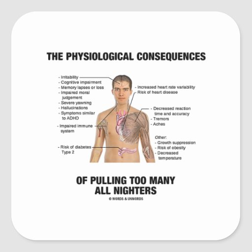 Physiological Consequences Pulling All Nighters Square Stickers
