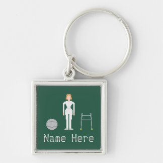 Physiotherapy Female Custom Name 8Bit Style Silver-Colored Square Key Ring