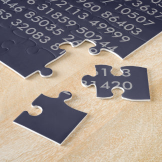 pi= 3.14159 Math pi Day Digits Navy Blue Grey Jigsaw Puzzle