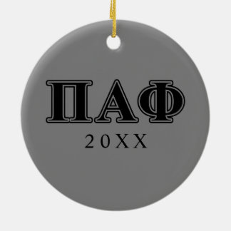 Pi Alpha Phi Black Letters Christmas Ornament