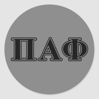 Pi Alpha Phi Black Letters Classic Round Sticker
