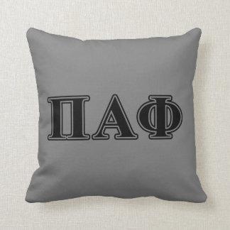 Pi Alpha Phi Black Letters Cushion