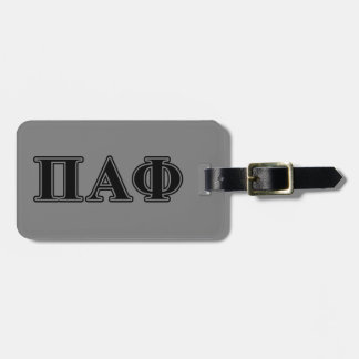 Pi Alpha Phi Black Letters Luggage Tag