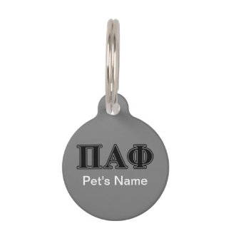 Pi Alpha Phi Black Letters Pet Tag