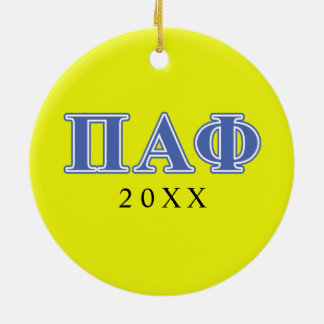 Pi Alpha Phi Blue Letters Christmas Ornament