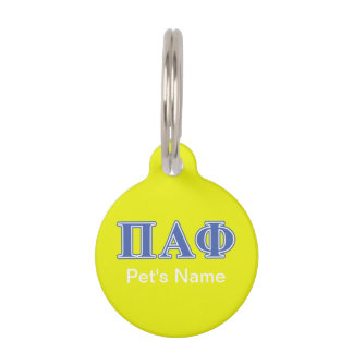Pi Alpha Phi Blue Letters Pet ID Tag