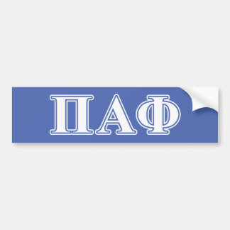 Pi Alpha Phi White and Blue Letters Bumper Sticker