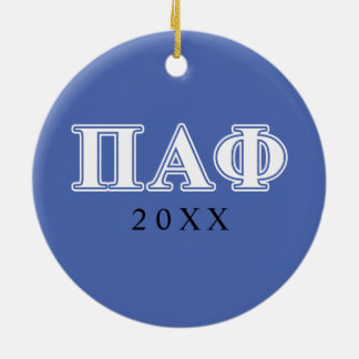 Pi Alpha Phi White and Blue Letters Christmas Ornament