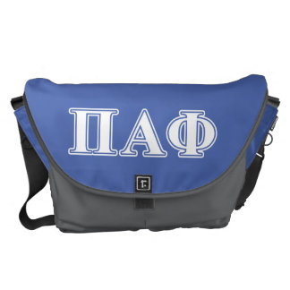 Pi Alpha Phi White and Blue Letters Courier Bag