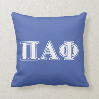 Pi Alpha Phi White and Blue Letters Cushion