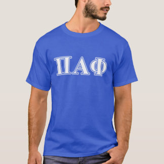 Pi Alpha Phi White and Blue Letters T-Shirt