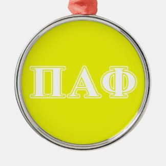 Pi Alpha Phi White and Yellow Letters Christmas Ornament