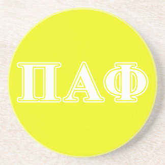 Pi Alpha Phi White and Yellow Letters Coaster