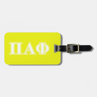 Pi Alpha Phi White and Yellow Letters Luggage Tag