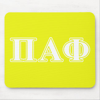 Pi Alpha Phi White and Yellow Letters Mouse Mat