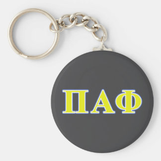 Pi Alpha Phi Yellow and Blue Letters Basic Round Button Key Ring