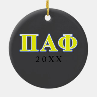 Pi Alpha Phi Yellow and Blue Letters Christmas Ornament