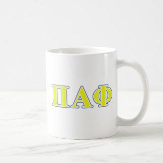 Pi Alpha Phi Yellow and Blue Letters Coffee Mug