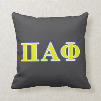 Pi Alpha Phi Yellow and Blue Letters Cushion