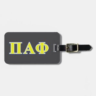 Pi Alpha Phi Yellow and Blue Letters Luggage Tag