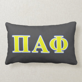 Pi Alpha Phi Yellow and Blue Letters Lumbar Cushion