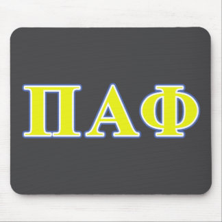 Pi Alpha Phi Yellow and Blue Letters Mouse Mat