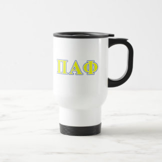 Pi Alpha Phi Yellow and Blue Letters Travel Mug