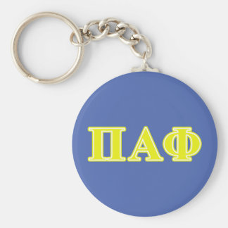 Pi Alpha Phi Yellow Letters Basic Round Button Key Ring