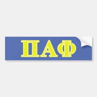 Pi Alpha Phi Yellow Letters Bumper Sticker