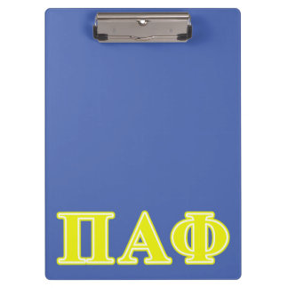 Pi Alpha Phi Yellow Letters Clipboard