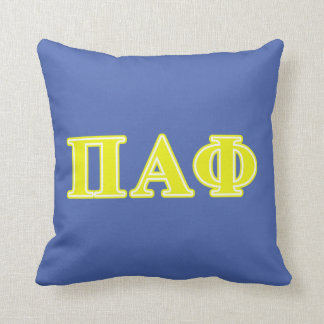 Pi Alpha Phi Yellow Letters Cushion