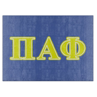 Pi Alpha Phi Yellow Letters Cutting Board