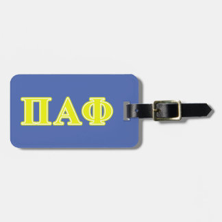 Pi Alpha Phi Yellow Letters Luggage Tag