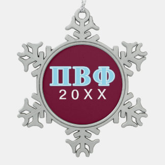 Pi Beta Phi Blue Letters Snowflake Pewter Christmas Ornament