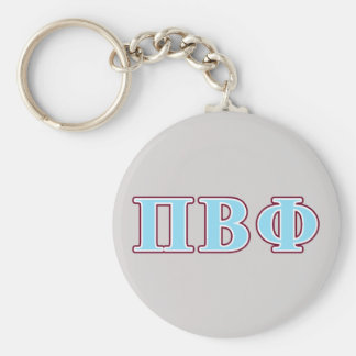Pi Beta Phi Maroon and Blue Letters Basic Round Button Key Ring