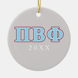Pi Beta Phi Maroon and Blue Letters Round Ceramic Decoration