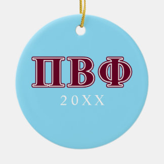 Pi Beta Phi Maroon Letters Christmas Ornament