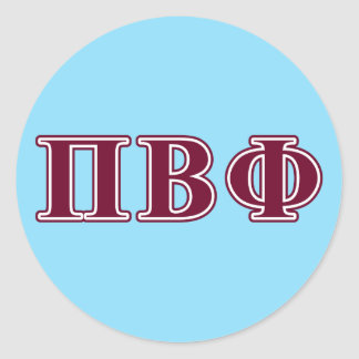 Pi Beta Phi Maroon Letters Classic Round Sticker