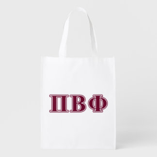 Pi Beta Phi Maroon Letters Grocery Bags