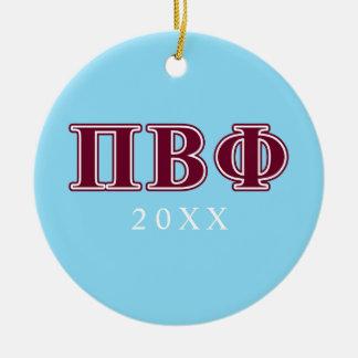 Pi Beta Phi Maroon Letters Round Ceramic Decoration