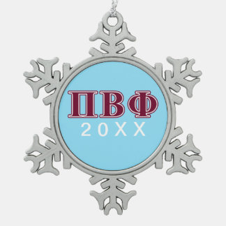 Pi Beta Phi Maroon Letters Snowflake Pewter Christmas Ornament