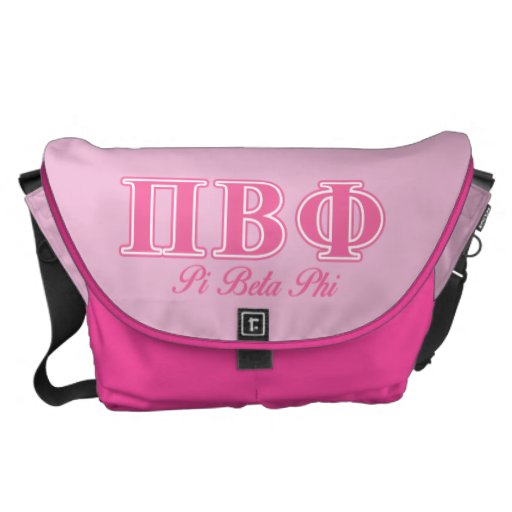 Pi Beta Phi Pink Letters Messenger Bags