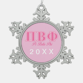 Pi Beta Phi Pink Letters Snowflake Pewter Christmas Ornament