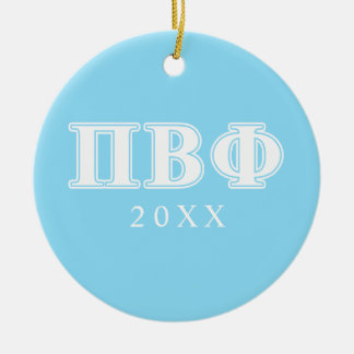 Pi Beta Phi White and Blue Letters Christmas Ornament
